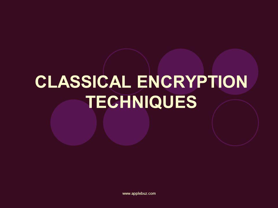 CLASSICAL ENCRYPTION TECHNIQUES www.applebuz.com