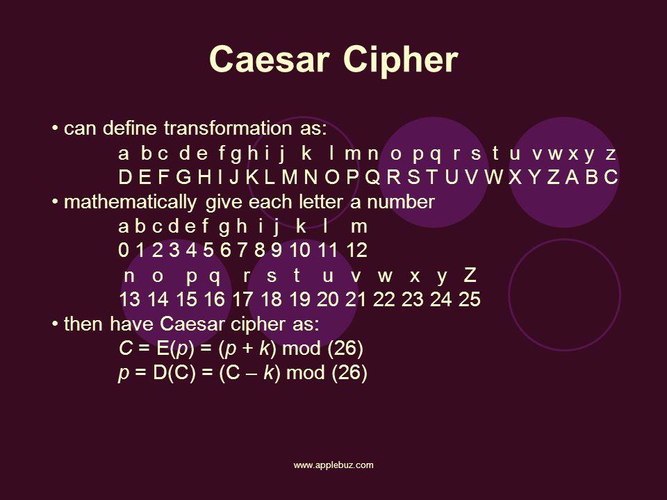Caesar Cipher can define transformation as: a b c d e f g h i j k l m n o p q r s t u v w x y z D E F G H I J K L M N O P Q R S T U V W X Y Z A B C ma