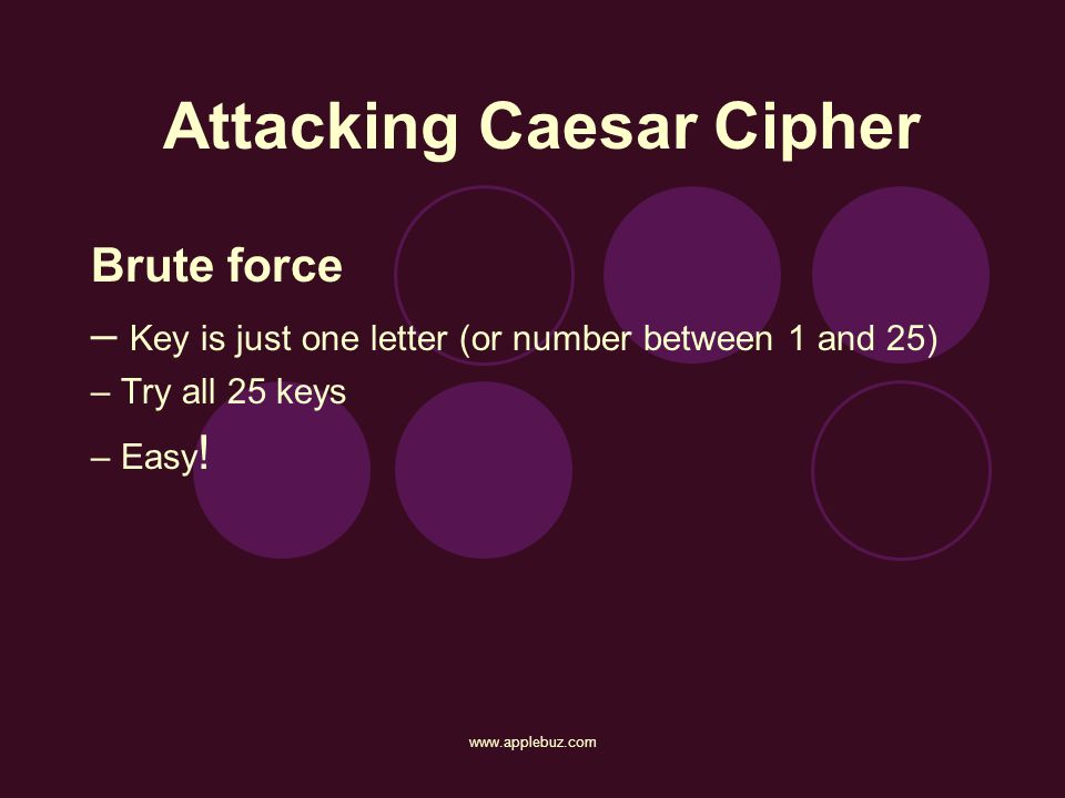 Attacking Caesar Cipher Brute force – Key is just one letter (or number between 1 and 25) – Try all 25 keys – Easy !