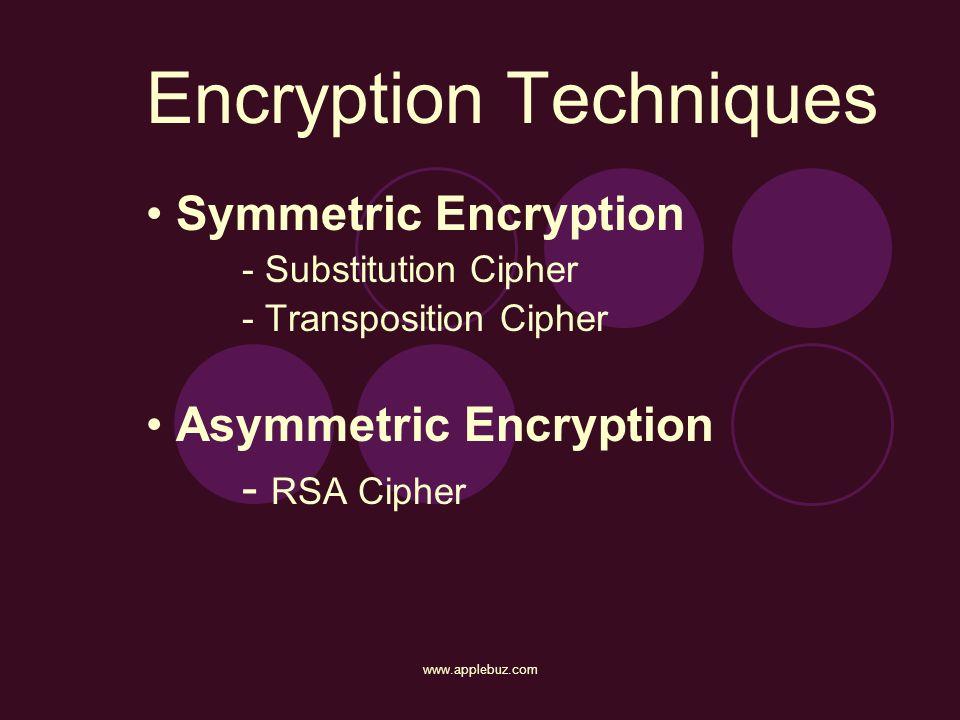 Encryption Techniques Symmetric Encryption - Substitution Cipher - Transposition Cipher Asymmetric Encryption - RSA Cipher