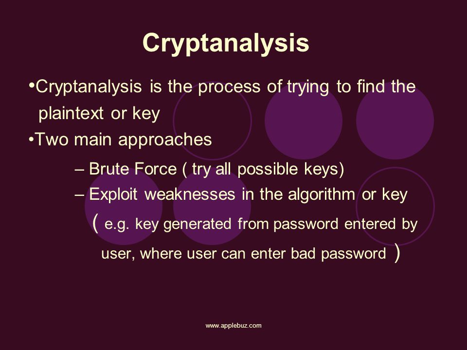Cryptanalysis Cryptanalysis is the process of trying to find the plaintext or key Two main approaches – Brute Force ( try all possible keys) – Exploit