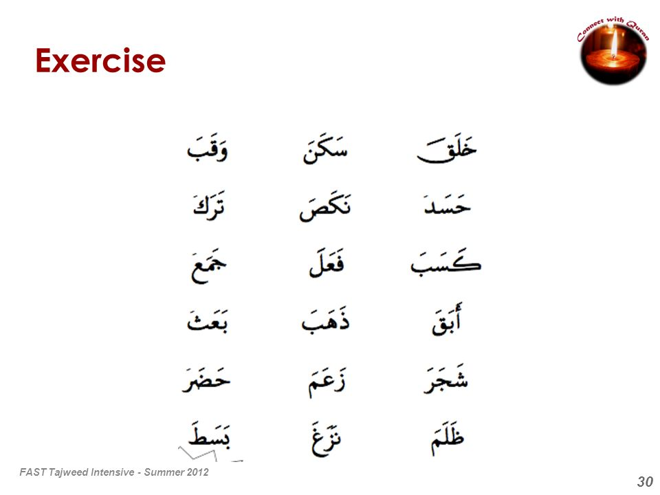 30 Exercise FAST Tajweed Intensive - Summer 2012