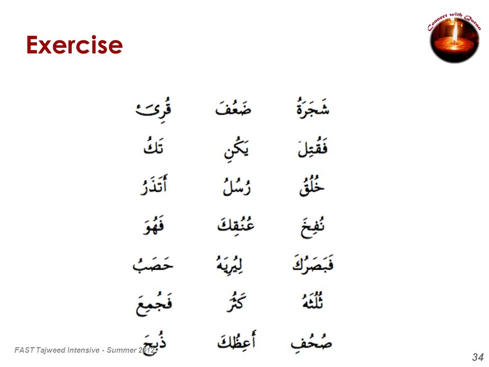 34 Exercise FAST Tajweed Intensive - Summer 2012