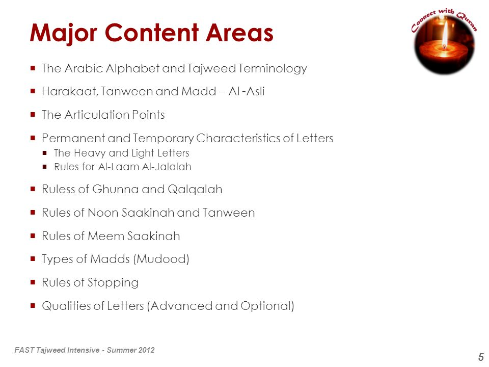 5 Major Content Areas The Arabic Alphabet and Tajweed Terminology Harakaat, Tanween and Madd – Al -Asli The Articulation Points Permanent and Temporar