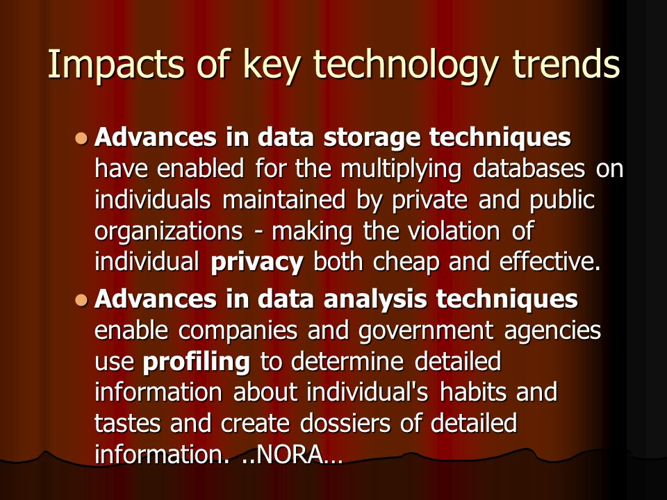 Impacts of key technology trends Nonobvious relationship awareness (NORA) is a new data analysis technology that can take data about people from many sources and correlate relationships to find hidden connections to identify potential criminals and terrorists.
