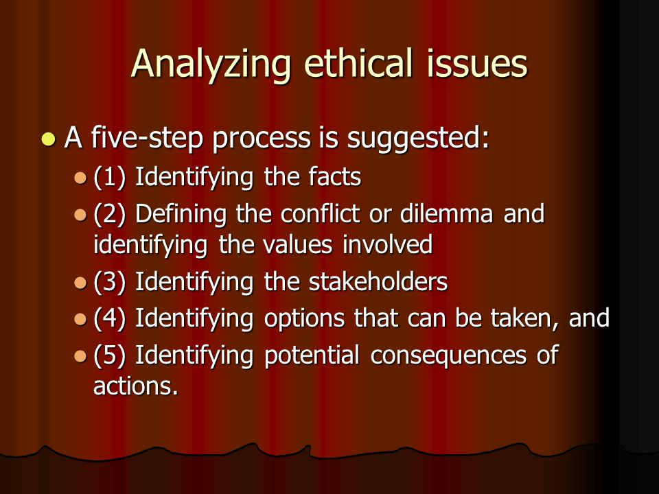 Analyzing ethical issues A five-step process is suggested: A five-step process is suggested: (1) Identifying the facts (1) Identifying the facts (2) D