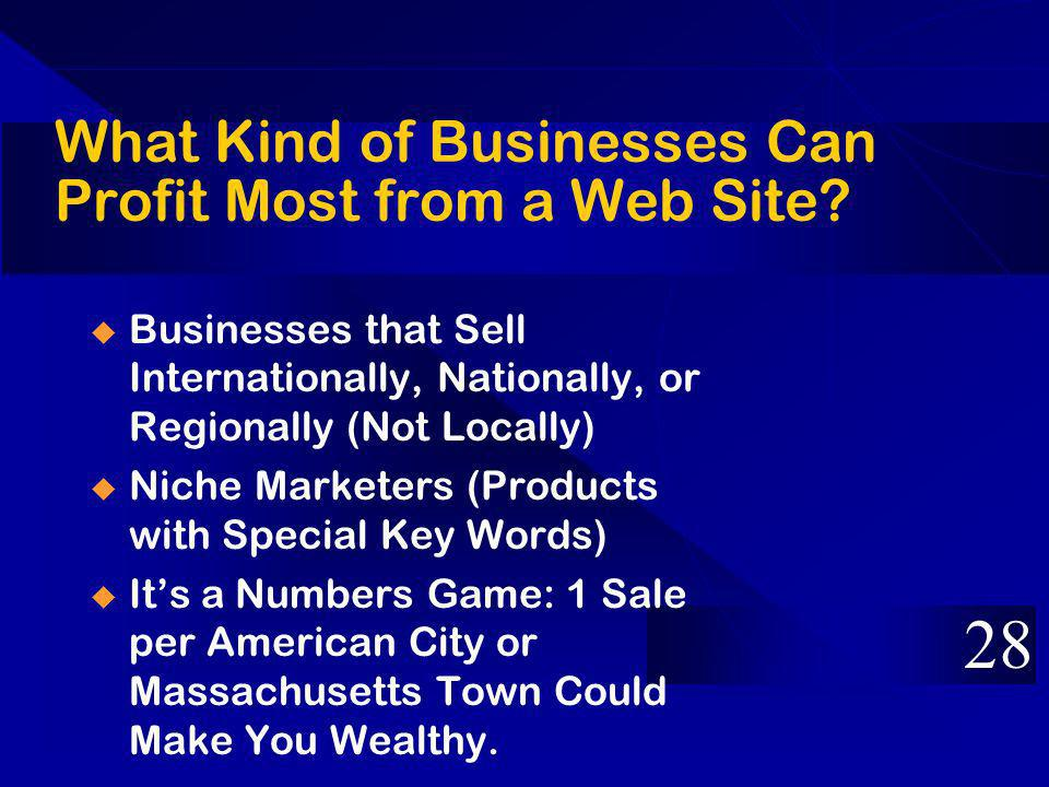 What Kind of Businesses Can Profit Most from a Web Site.