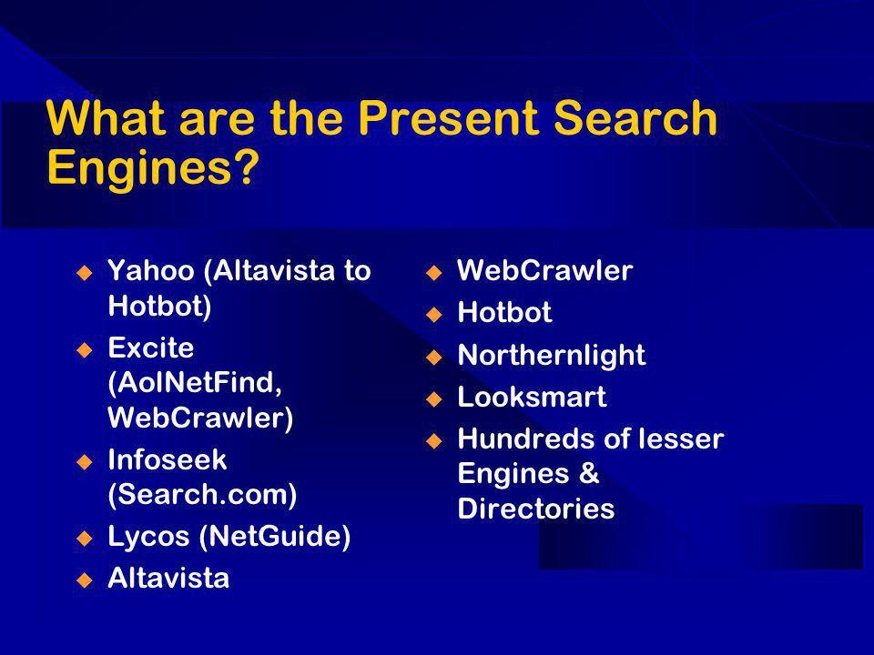 What are the Present Search Engines? Yahoo (Altavista to Hotbot) Excite (AolNetFind, WebCrawler) Infoseek (Search.com) Lycos (NetGuide) Altavista WebC