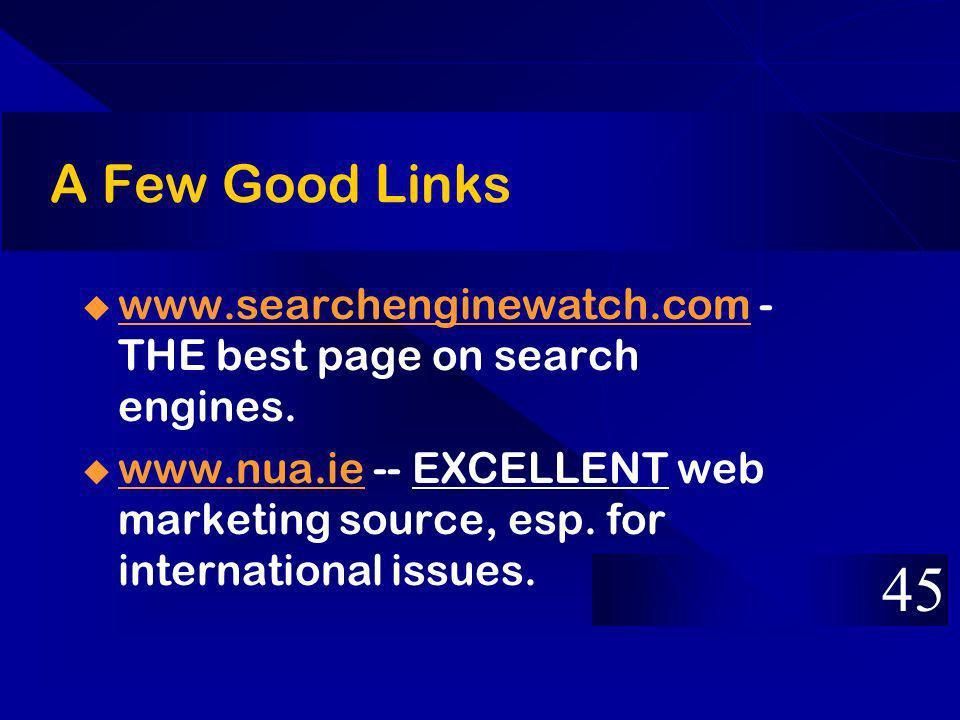 A Few Good Links www.searchenginewatch.com - THE best page on search engines. www.searchenginewatch.com www.nua.ie -- EXCELLENT web marketing source,