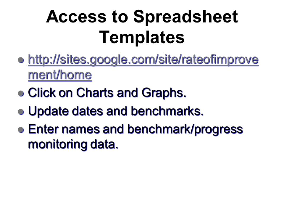 Access to Spreadsheet Templates http://sites.google.com/site/rateofimprove ment/home http://sites.google.com/site/rateofimprove ment/home http://sites