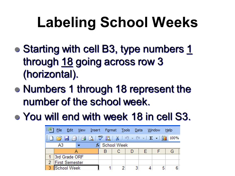 Labeling School Weeks Starting with cell B3, type numbers 1 through 18 going across row 3 (horizontal). Starting with cell B3, type numbers 1 through