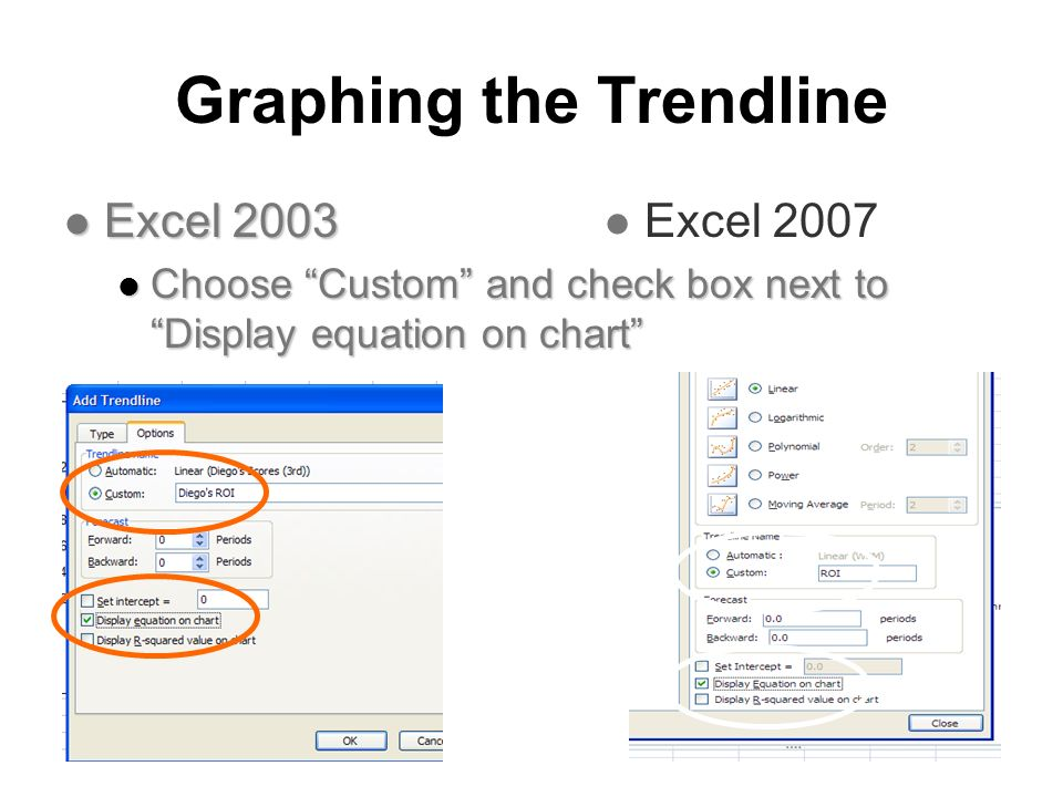 Graphing the Trendline Excel 2003 Excel 2003 Choose Custom and check box next to Display equation on chart Choose Custom and check box next to Display