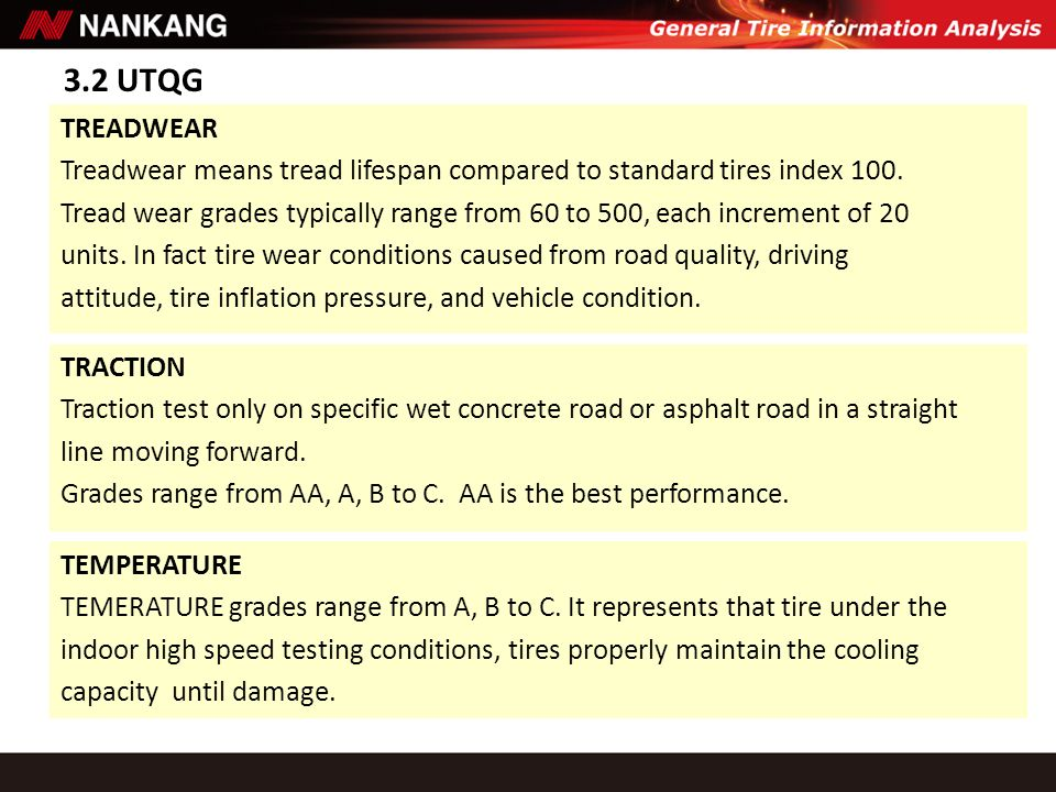 3.2 UTQG TREADWEAR Treadwear means tread lifespan compared to standard tires index 100. Tread wear grades typically range from 60 to 500, each increme