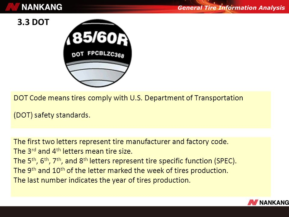 3.3 DOT DOT Code means tires comply with U.S. Department of Transportation (DOT) safety standards. The first two letters represent tire manufacturer a