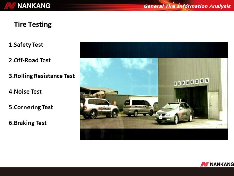 Tire Testing 1.Safety Test 2.Off-Road Test 3.Rolling Resistance Test 4.Noise Test 5.Cornering Test 6.Braking Test