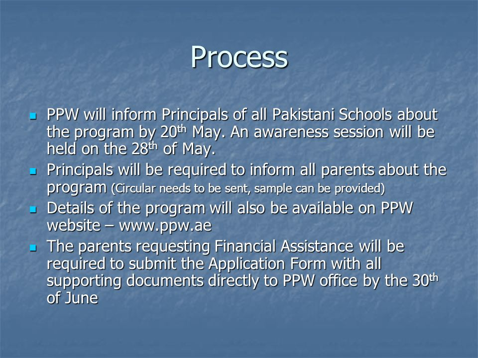 Process PPW will inform Principals of all Pakistani Schools about the program by 20 th May.