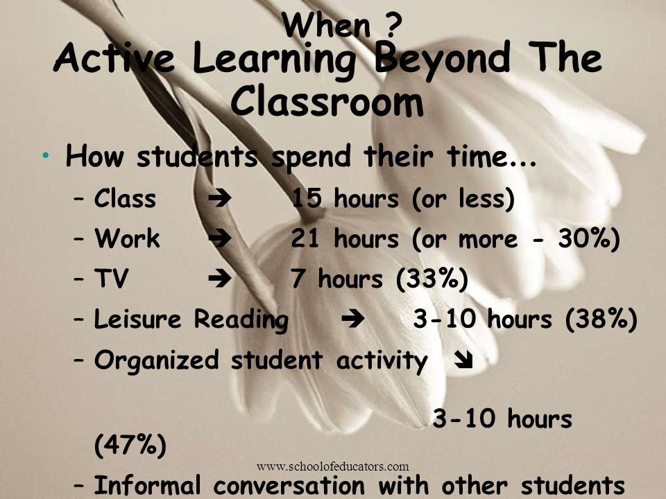 Active Learning Beyond The Classroom How students spend their time … –Class 15 hours (or less) –Work 21 hours (or more - 30%) –TV 7 hours (33%) –Leisure Reading 3-10 hours (38%) –Organized student activity 3-10 hours (47%) –Informal conversation with other students 10 hours (31%) When .
