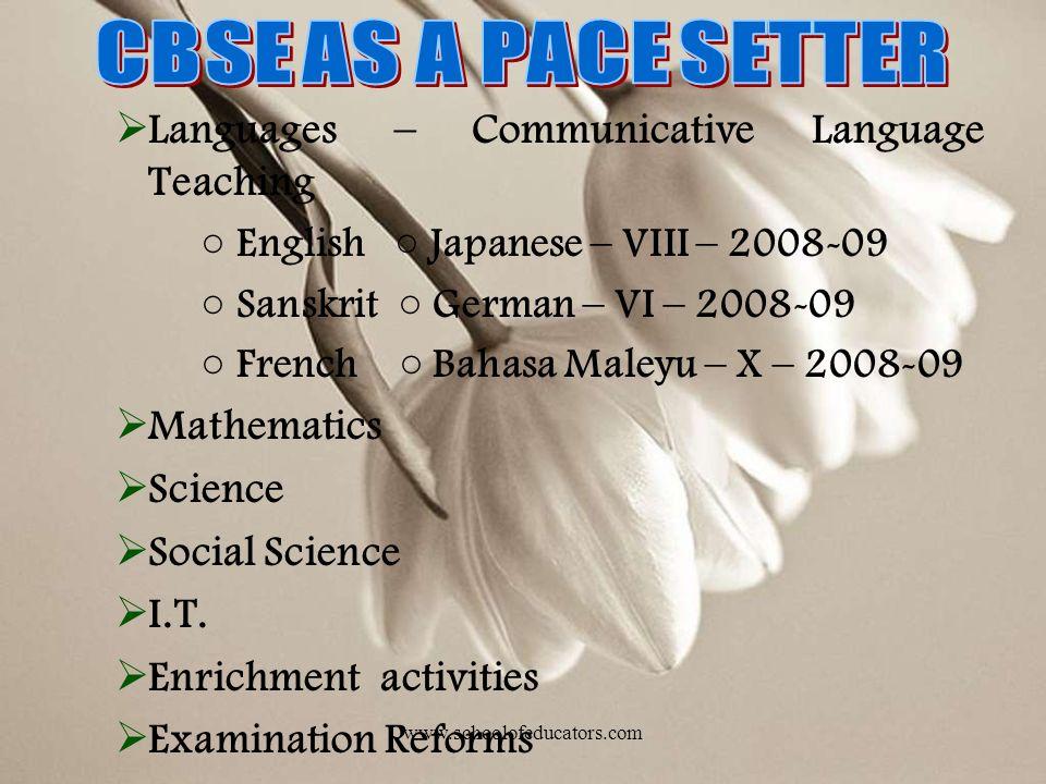 Languages – Communicative Language Teaching English Japanese – VIII – 2008-09 Sanskrit German – VI – 2008-09 French Bahasa Maleyu – X – 2008-09 Mathematics Science Social Science I.T.
