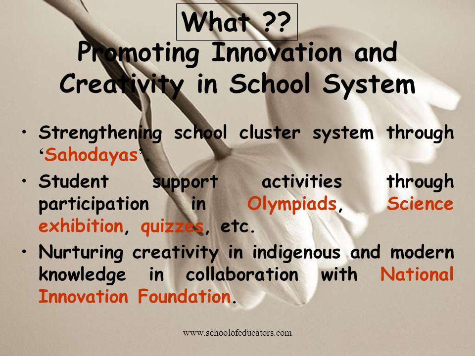 Promoting Innovation and Creativity in School System Strengthening school cluster system through Sahodayas.