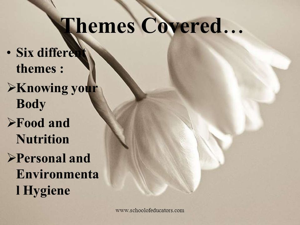 Themes Covered … Six different themes : Knowing your Body Food and Nutrition Personal and Environmenta l Hygiene www.schoolofeducators.com