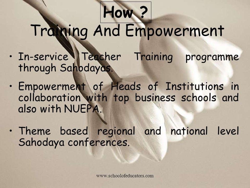 Training And Empowerment In-service Teacher Training programme through Sahodayas.