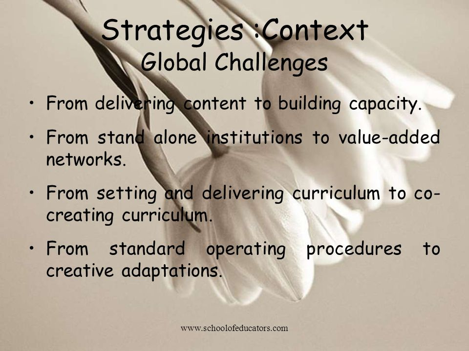 Global Challenges From delivering content to building capacity. From stand alone institutions to value-added networks. From setting and delivering cur
