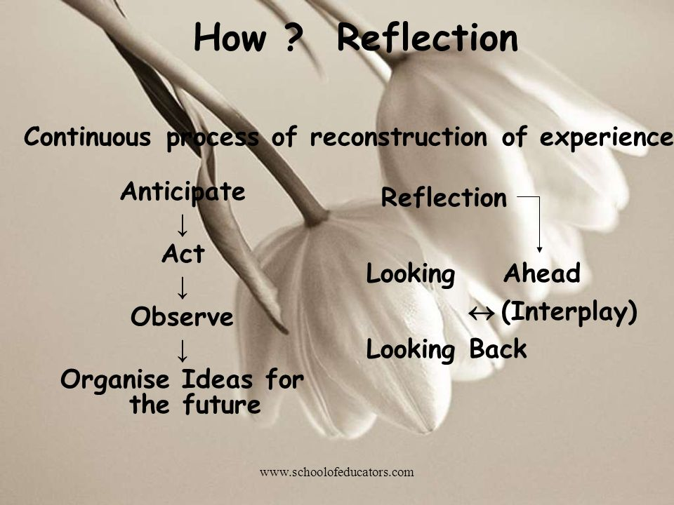Anticipate Act Observe Organise Ideas for the future How ? Reflection Continuous process of reconstruction of experience Reflection Looking Ahead (Int