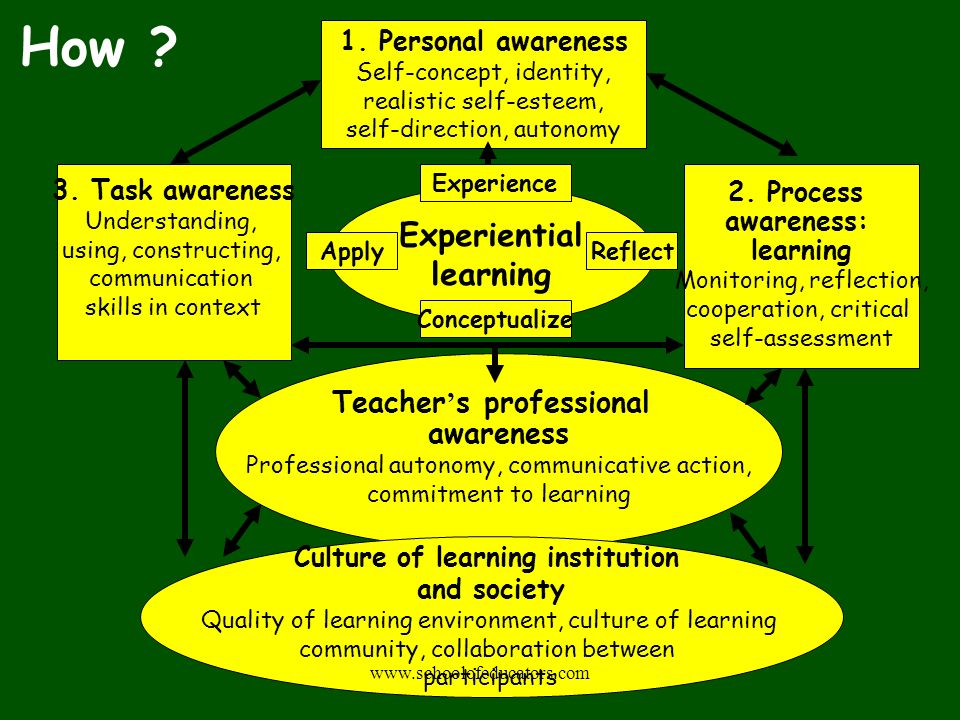 1. Personal awareness Self-concept, identity, realistic self-esteem, self-direction, autonomy 3. Task awareness Understanding, using, constructing, co
