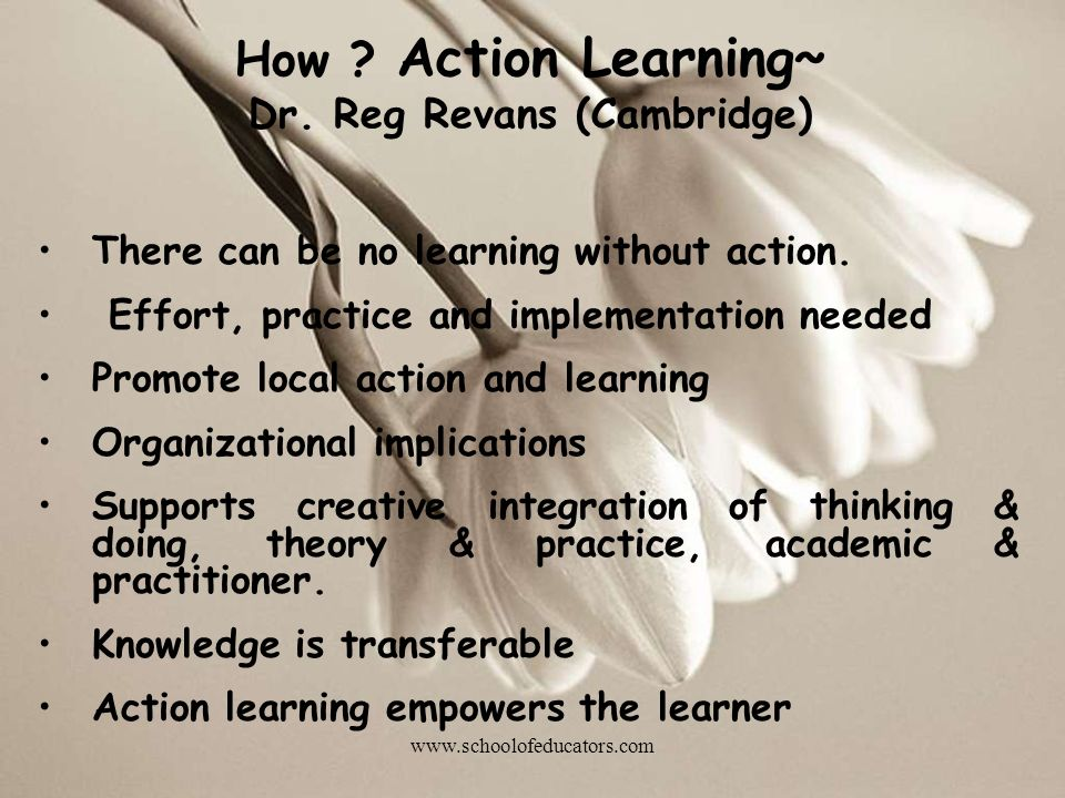 How ? Action Learning~ Dr. Reg Revans (Cambridge) There can be no learning without action. Effort, practice and implementation needed Promote local ac