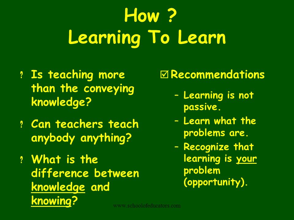 Learning To Learn .Is teaching more than the conveying knowledge.