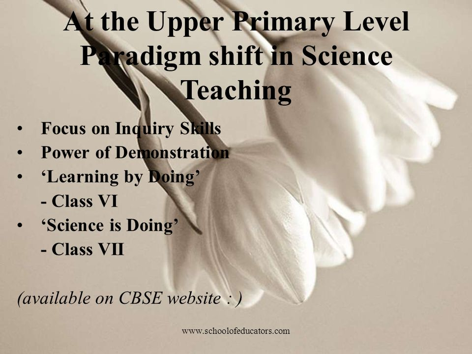 Focus on Inquiry Skills Power of Demonstration Learning by Doing - Class VI Science is Doing - Class VII (available on CBSE website : ) At the Upper Primary Level Paradigm shift in Science Teaching www.schoolofeducators.com