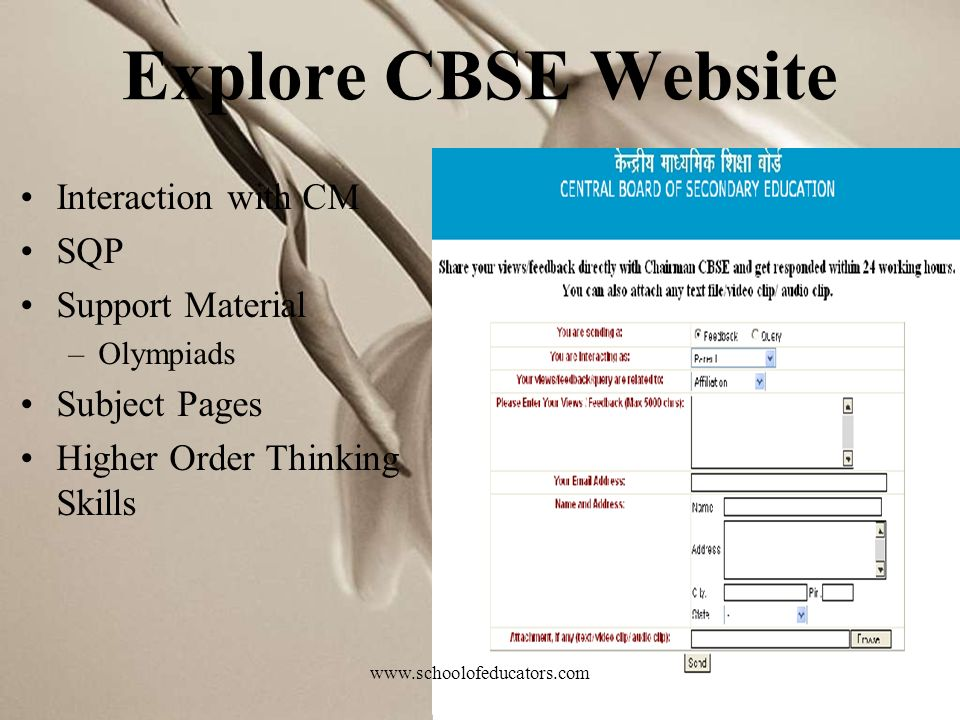 Explore CBSE Website Interaction with CM SQP Support Material –Olympiads Subject Pages Higher Order Thinking Skills www.schoolofeducators.com