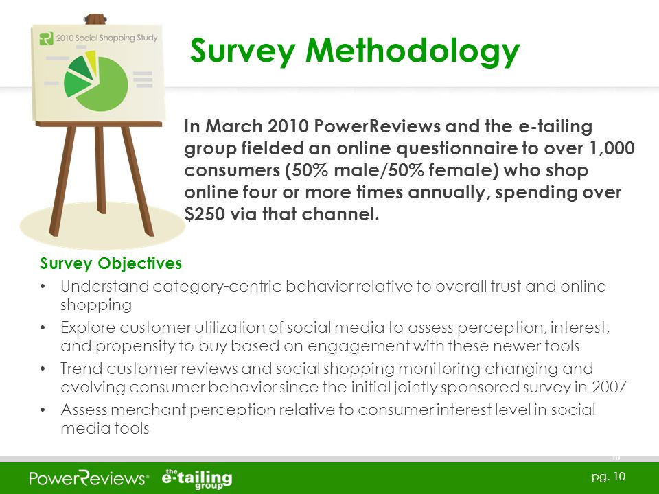 pg. 10 Survey Objectives Understand category-centric behavior relative to overall trust and online shopping Explore customer utilization of social med