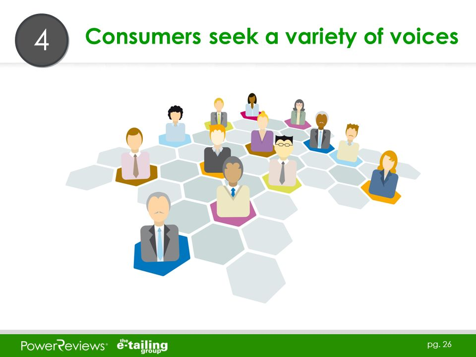 pg. 26 Consumers seek a variety of voices 4