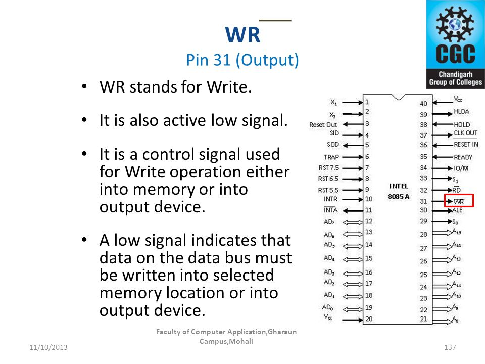 WR Pin 31 (Output) Faculty of Computer Application,Gharaun Campus,Mohali 137 WR stands for Write. It is also active low signal. It is a control signal