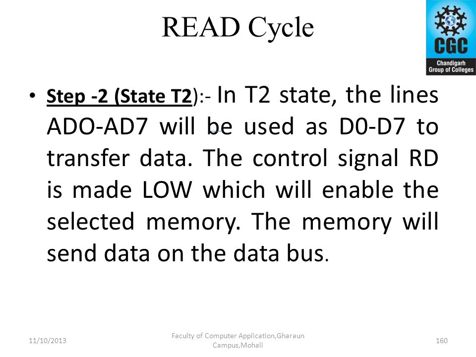 READ Cycle Step -2 (State T2):- In T2 state, the lines ADO-AD7 will be used as D0-D7 to transfer data. The control signal RD is made LOW which will en