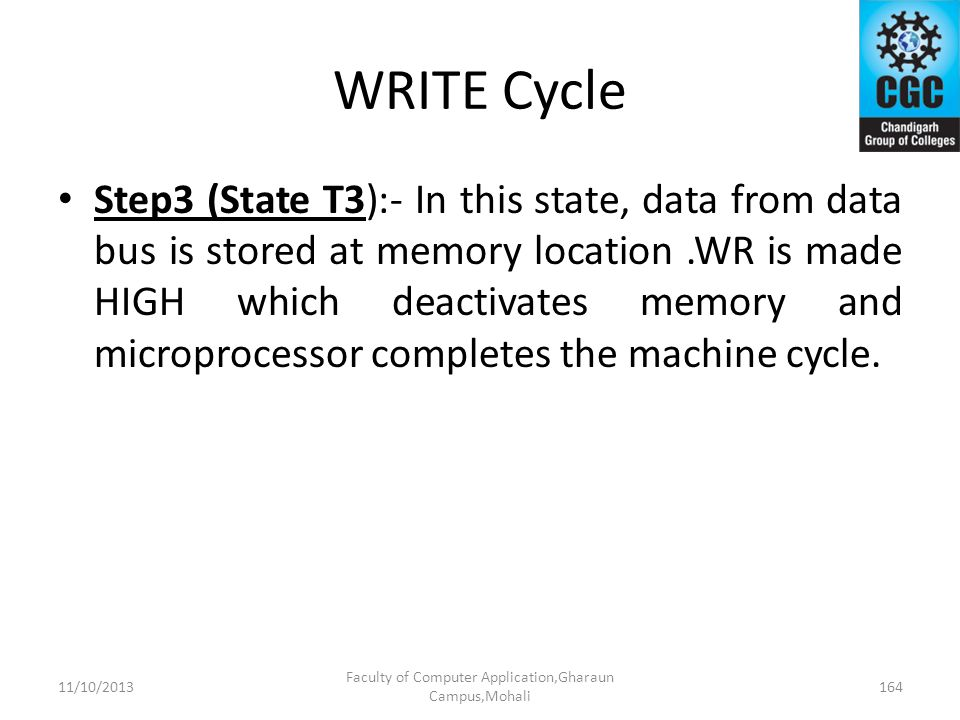 WRITE Cycle Step3 (State T3):- In this state, data from data bus is stored at memory location.WR is made HIGH which deactivates memory and microproces