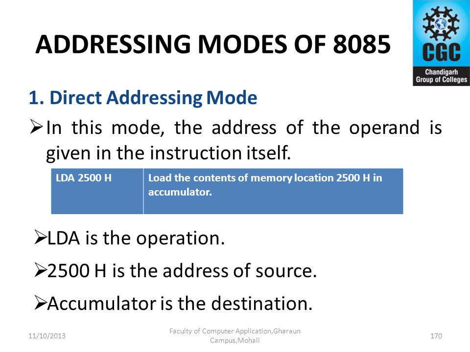 ADDRESSING MODES OF 8085 1. Direct Addressing Mode In this mode, the address of the operand is given in the instruction itself. LDA is the operation.