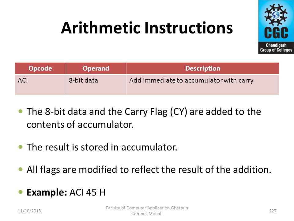 Arithmetic Instructions OpcodeOperandDescription ACI8-bit dataAdd immediate to accumulator with carry The 8-bit data and the Carry Flag (CY) are added