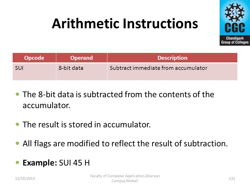 Arithmetic Instructions OpcodeOperandDescription SUI8-bit dataSubtract immediate from accumulator The 8-bit data is subtracted from the contents of th