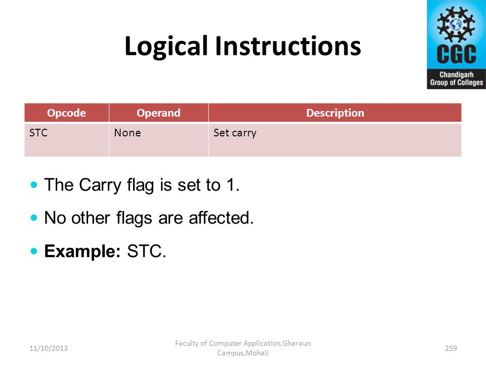 Logical Instructions OpcodeOperandDescription STCNoneSet carry The Carry flag is set to 1. No other flags are affected. Example: STC. 11/10/2013259 Fa