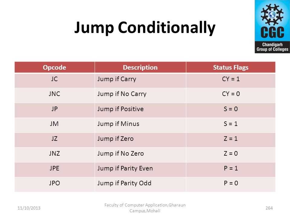 Jump Conditionally OpcodeDescriptionStatus Flags JCJump if CarryCY = 1 JNCJump if No CarryCY = 0 JPJump if PositiveS = 0 JMJump if MinusS = 1 JZJump i