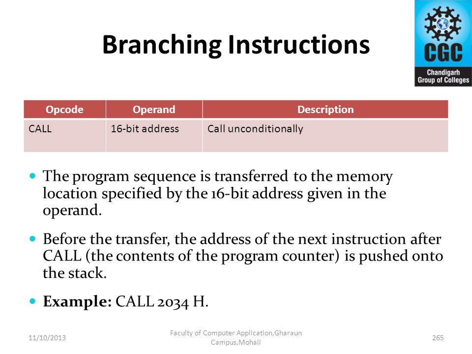 Branching Instructions OpcodeOperandDescription CALL16-bit addressCall unconditionally The program sequence is transferred to the memory location spec