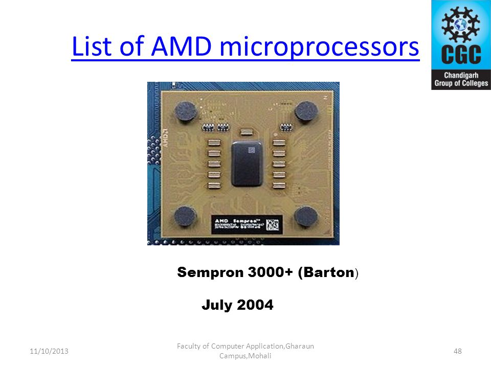List of AMD microprocessors Faculty of Computer Application,Gharaun Campus,Mohali Sempron 3000+ (Barton ) July 2004 4811/10/2013