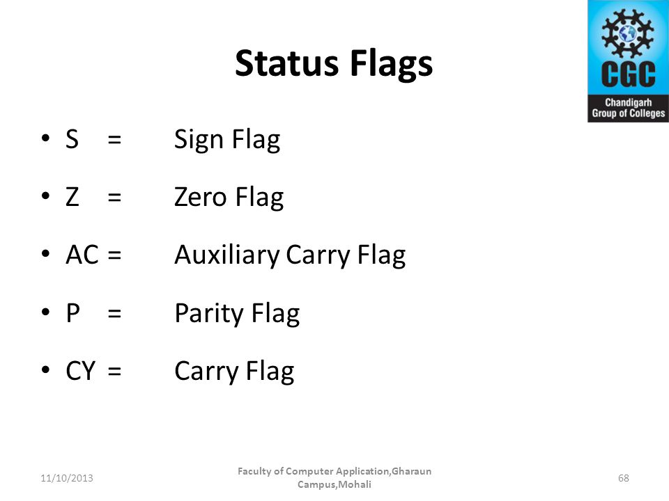 Status Flags S=Sign Flag Z=Zero Flag AC=Auxiliary Carry Flag P=Parity Flag CY=Carry Flag Faculty of Computer Application,Gharaun Campus,Mohali 6811/10