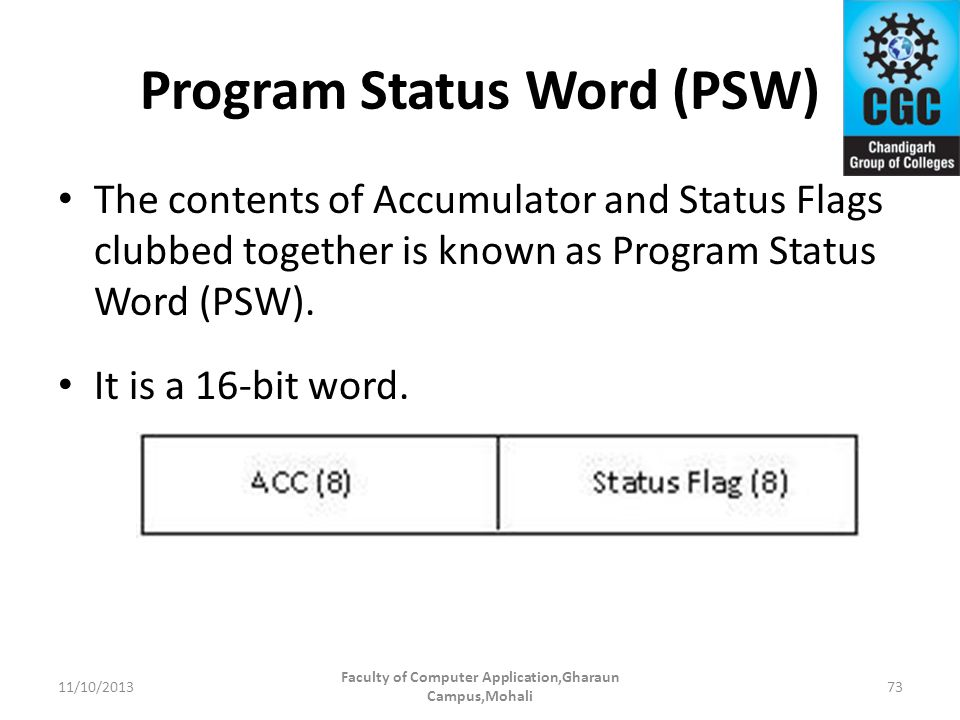 Program Status Word (PSW) The contents of Accumulator and Status Flags clubbed together is known as Program Status Word (PSW). It is a 16-bit word. Fa