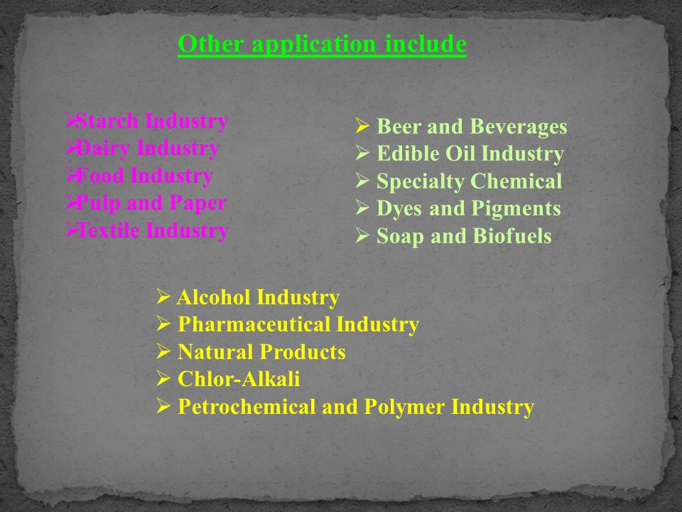 Beer and Beverages Edible Oil Industry Specialty Chemical Dyes and Pigments Soap and Biofuels Other application include Starch Industry Dairy Industry