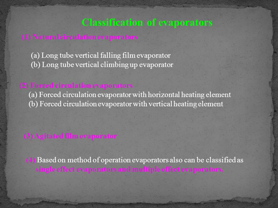 Classification of evaporators (1) Natural circulation evaporators (a) Long tube vertical falling film evaporator (b) Long tube vertical climbing up ev