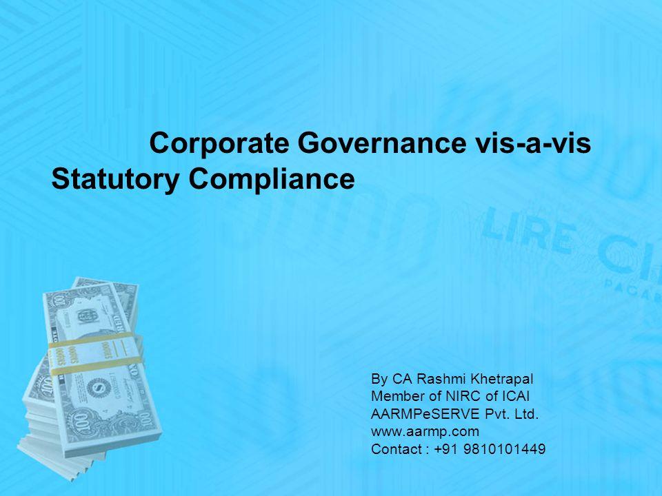 By CA Rashmi Khetrapal Member of NIRC of ICAI AARMPeSERVE Pvt.