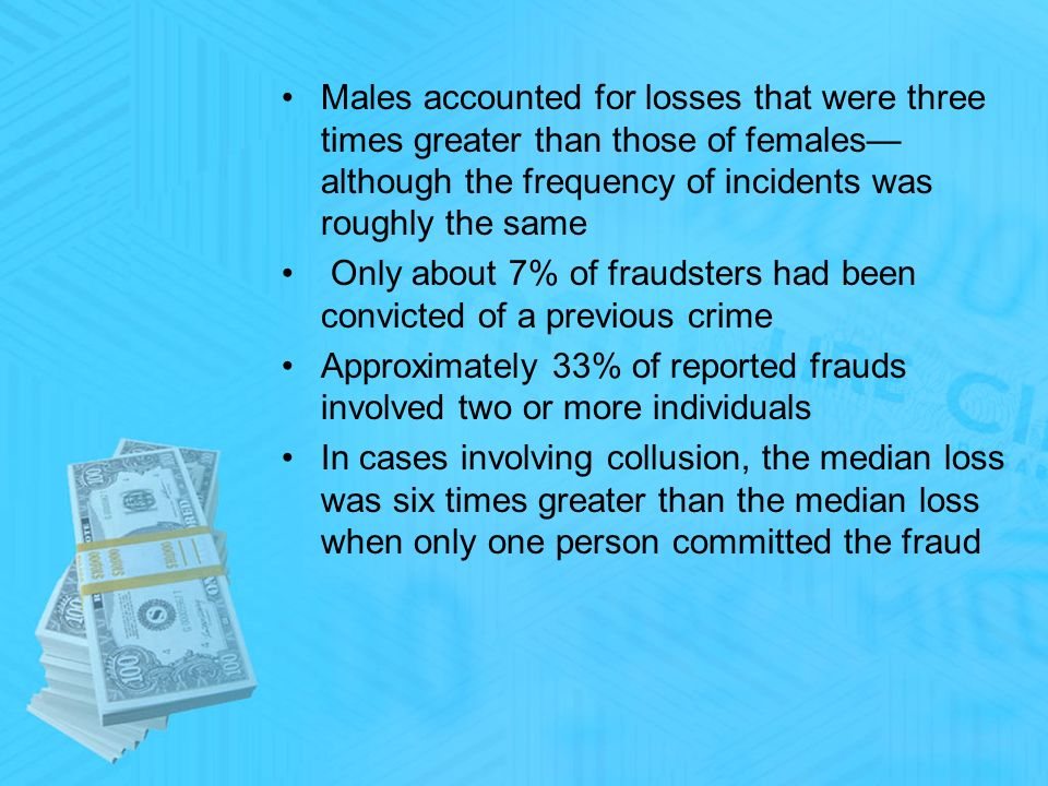 Males accounted for losses that were three times greater than those of females although the frequency of incidents was roughly the same Only about 7% of fraudsters had been convicted of a previous crime Approximately 33% of reported frauds involved two or more individuals In cases involving collusion, the median loss was six times greater than the median loss when only one person committed the fraud